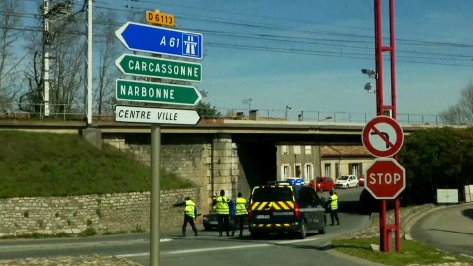 French police say 2 are killed, about a dozen woun