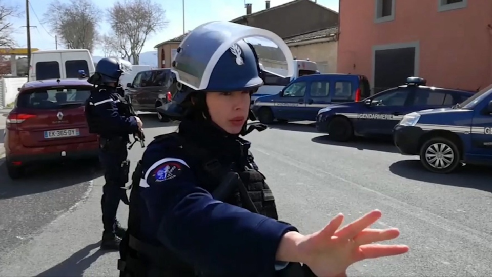 Police attend an incident in Trebes, France