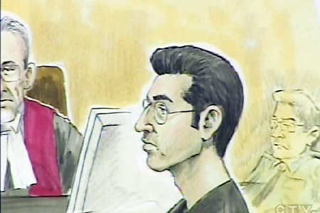 An artist's rendition of Francis Proulx during the trial.