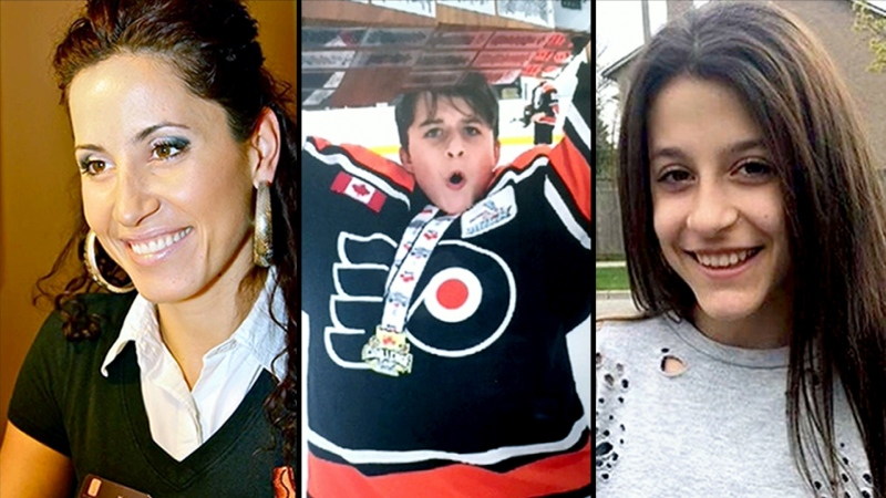Thirty-nine-year-old Krassimira Pejcinovski, her 15-year-old son Roy Pejcinovski and her 13-year-old daughter Venallia Pejcinovski are shown in this composite image.