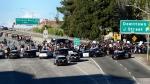Demonstrators protesting this week's fatal shooting of an unarmed black man shut down Interstate 5 in Sacramento, Calif., Thursday, March 22, 2018. (AP / Robert Petersen)