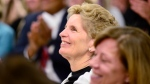 Ontario Premier Kathleen Wynne smiles during a CAMH mental health funding announcement in Toronto on Wednesday March 21, 2018. (THE CANADIAN PRESS/Frank Gunn)