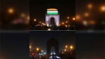 In this two photo combination picture, the landmark India Gate monument is seen lit, top, and then the same location in darkness when the lights are turned out for one hour to mark Earth Hour, in New Delhi, India, Saturday, March 24, 2018. (AP Photo/Oinam Anand)