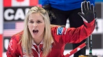 Canada skip Jennifer Jones calls off the sweep as they play the United States at the World Women's Curling Championship Friday, March 23, 2018 in North Bay, Ont. (Paul Chiasson/THE CANADIAN PRESS)