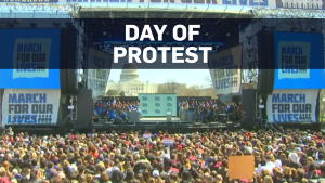 Hundreds of thousands of teenagers and their supporters rallied in the nation's capital and cities across America on Saturday.