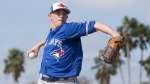 Toronto Blue Jays pitcher Aaron Sanchez throws live batting practice at spring training in Dunedin, Fla. on Tuesday, February 20, 2018. Sanchez feels ready for the season after pitching four scoreless innings in his final exhibition start Saturday. THE CANADIAN PRESS / Frank Gunn