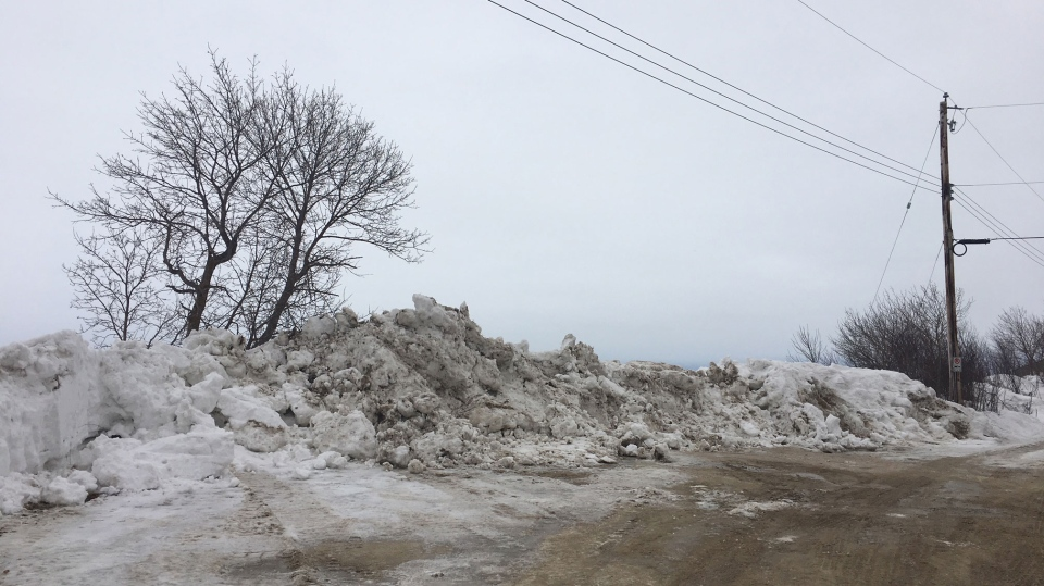 Crews from the municipality moved a heap of snow at the end of the Chalet Beach road to make sure people stop driving on or off the ice. (Source: Beth Macdonell)