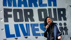 "Jennifer Hudson and the DC choir perform ""The Times They Are A Changin'"" during the ""March for Our Lives"" rally in support of gun control in Washington, Saturday, March 24, 2018. (AP Photo/Andrew Harnik)"