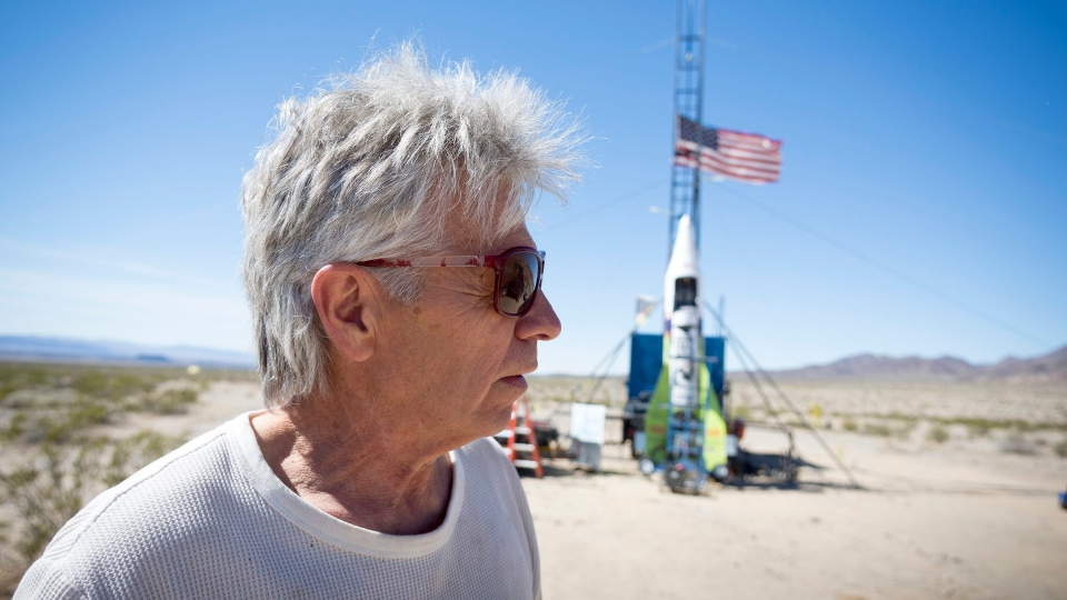 "In this March 6, 2018, file photo, ""Mad"" Mike Hughes reacts after the decision to scrub another launch attempt of his rocket near Amboy, Calif. (James Quigg/Daily Press via AP, File)"