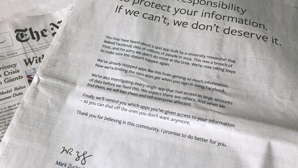 An advertisement in the New York Times is displayed on Sunday, March 25, 2018, in New York. Facebook CEO apologized for the Cambridge Analytica scandal with ads in multiple U.S. and British newspapers Sunday. The ads signed by Mark Zuckerberg say the social media platform doesn't deserve to hold personal information if it can't protect it. (AP Photo/Jenny Kane)