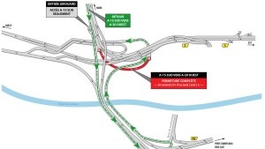The ramp that connects Highway 15 South to Highway 20 West is closed the week of March 26, 2018