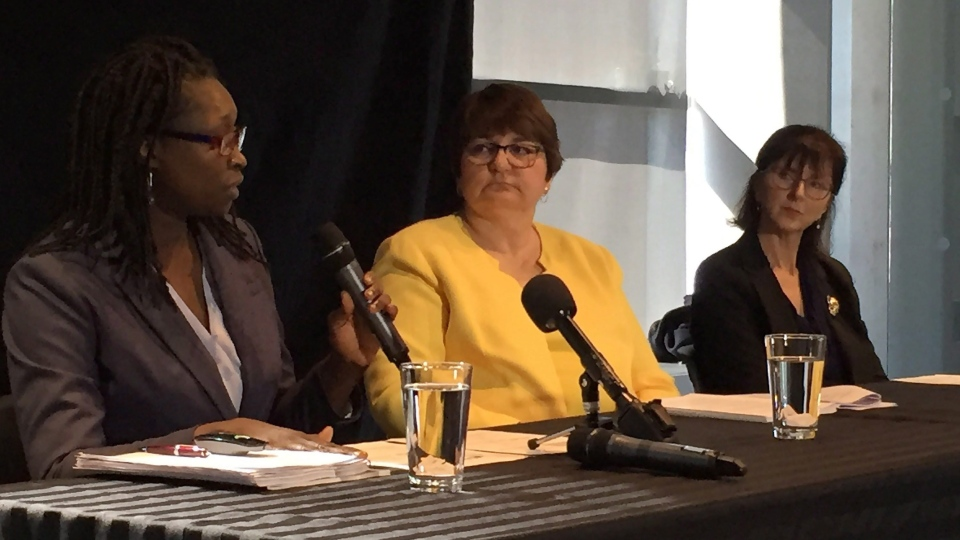 Commission members Adela Njie (left), Monica Williams and Dr. Sarah Shea deliver a report into inclusive education in Nova Scotia in Halifax on Monday March 26, 2018. (THE CANADIAN PRESS/Aly Thomson)