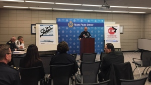 Police present on a province-wide gun amnesty program on March 26, 2018 (Jessica Smith / CTV Regina)
