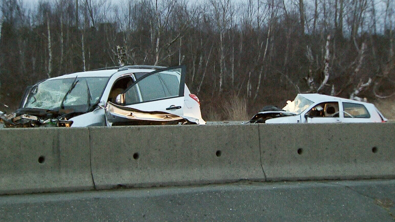 Damaged vehicles are shown following a serious crash on Highway 99 Sunday, March 25, 2018.