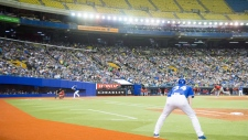 A crowd 0f 25,335 watch the spring training baseball game between the Toronto Blue Jays and the St. Louis Cardinals at Olympic Stadium Monday, March 26, 2018 in Montreal. THE CANADIAN PRESS/Ryan Remiorz
