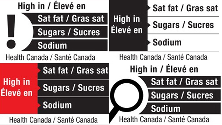 This combined image shows four proposed front-of-package nutrition labels proposed by Health Canada.