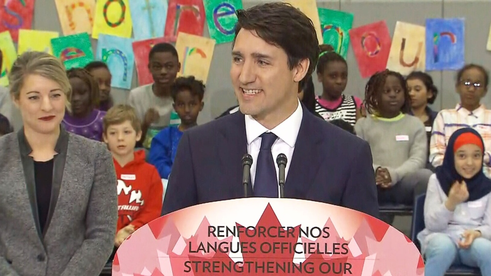 Prime Minister Justin Trudeau and Heritage Minister Melanie Joly announce an official languages action plan on Wednesday, March 28, 2018.