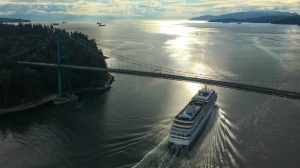 A cruise ship passes under Vancouver's Lions Gate Bridge in this photo captured by CTV News Vancouver's Penny Daflos from Chopper 9 in 2018.