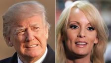 Donald Trump, left, and Stormy Daniels