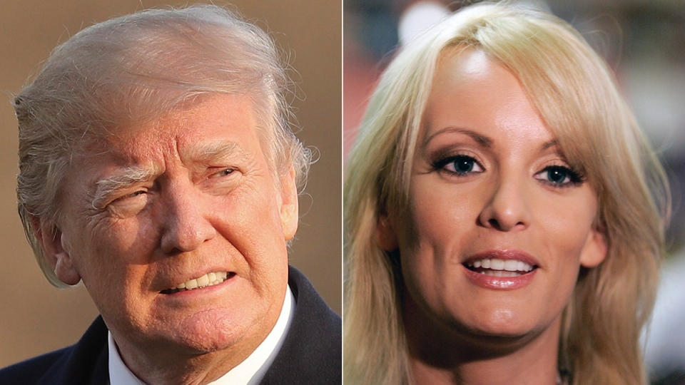 Donald Trump, left, and Stormy Daniels are seen in a composite image. (Bill Haber / Pablo Martinez Monsivais / AP)