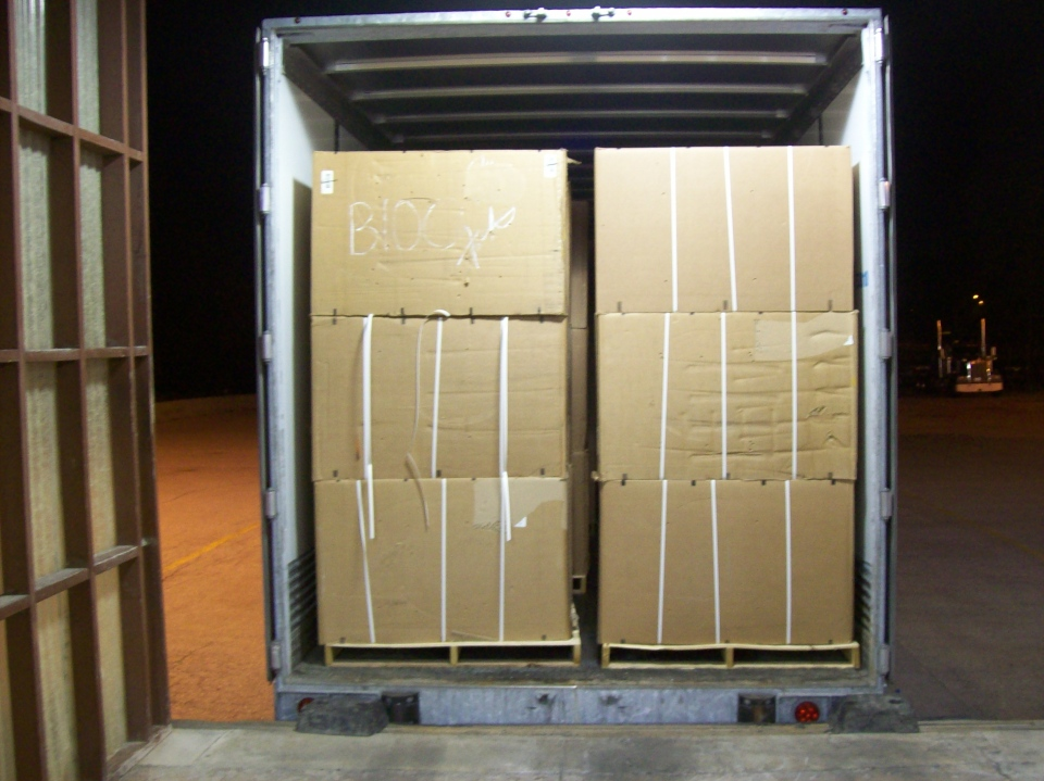 Contraband tobacco seized in Landsdowne, Ont. by Canada Border Services Agency during Project Mygale. (Source: CBSA)