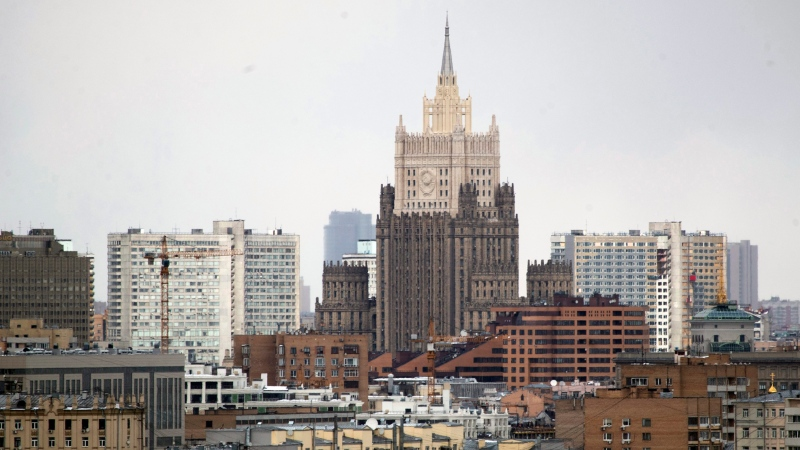 The building of the Russian Foreign Ministry, center, is seen in Moscow, Russia, Wednesday, March 28, 2018. (AP Photo / Pavel Golovkin)