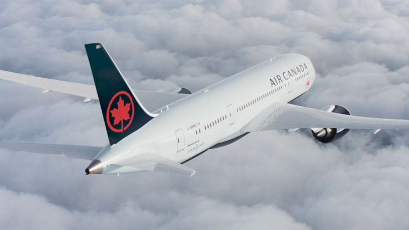 An Air Canada jet is shown in an image from promotional video.