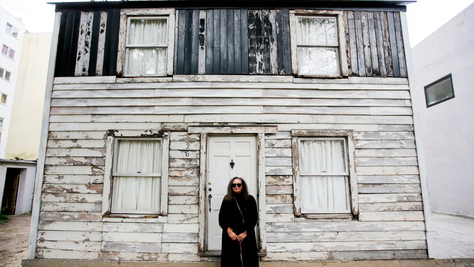 Rhea McCauley, a niece of Rosa Parks, poses in front of the rebuilt house of Rosa Parks, in Berlin, April 6, 2017. (AP / Markus Schreiber)