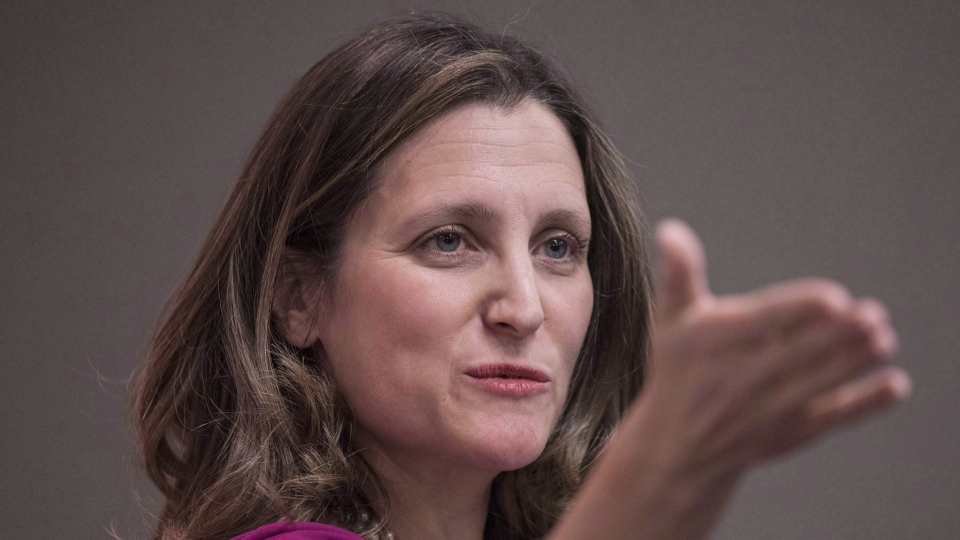 Foreign Affairs Minister Chrystia Freeland gestures during a news conference in Toronto on Thursday, March 8, 2018. THE CANADIAN PRESS/Chris Young