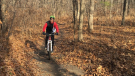 A cyclist uses paths snaking through Black Oak Heritage Park in Windsor's west-end on Sunday Dec. 3, 2017. (Photo by AM800's Gord Bacon)
