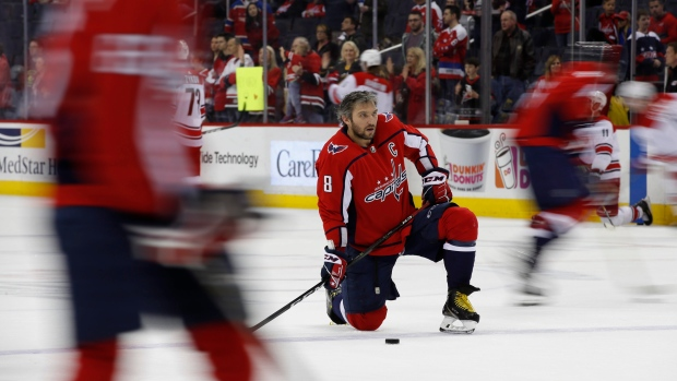 Washington Capitals left wing Alex Ovechkin (8) pauses during warmups  before an NHL hockey game against the Carolina Hurricanes in Washington 0d4e65cd4e2b