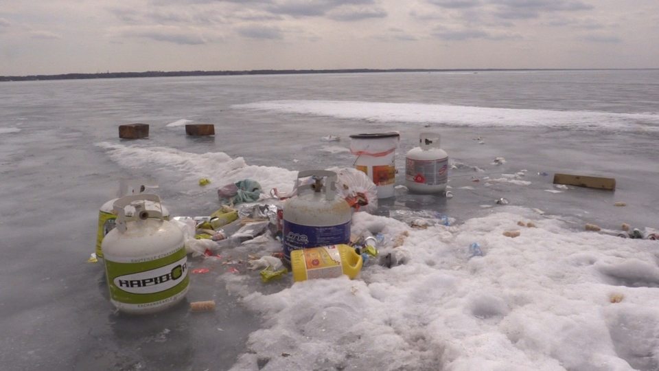 Seen here garbage left behind on Lake Simcoe on March 31, 2018 after the ice huts were removed (Courtesy Tom Carr)