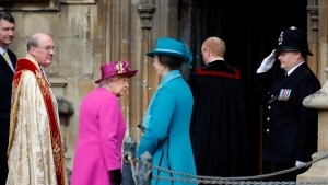 Queen Elizabeth II, centre and members of the Royal family arrive for the Easter Mattins Service at St. George's Chapel, Windsor Castle, in Windsor, England, Sunday, April 1, 2018. (Tolga Akmen/Pool Photo via AP)