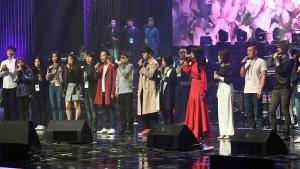 South Korean groups perform during a rehearsal in Pyongyang, North Korea, Sunday, April 1, 2018.  (Korea Pool via AP)
