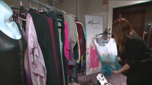 Gaudet makes most of her clothes out of silk, and hand paints on most of them. The designs are largely chosen by her customers – so showing at a client-focused fashion week, she says, is essential to growing her business. (CTV Montreal)