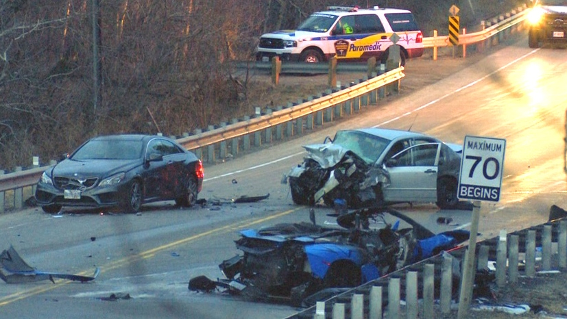 A collision scene in Richmond Hill, Ont.