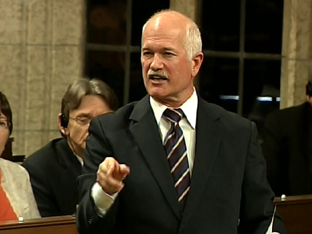 NDP Leader Jack Layton questions the goverment of CPP management during question period in Ottawa, Thursday, May 28, 2009.