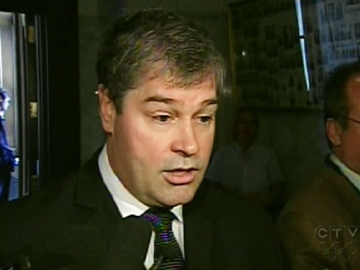 Quebec Health Minister Yves Bolduc speaks to the media about the report on Thursday, May 28, 2009.