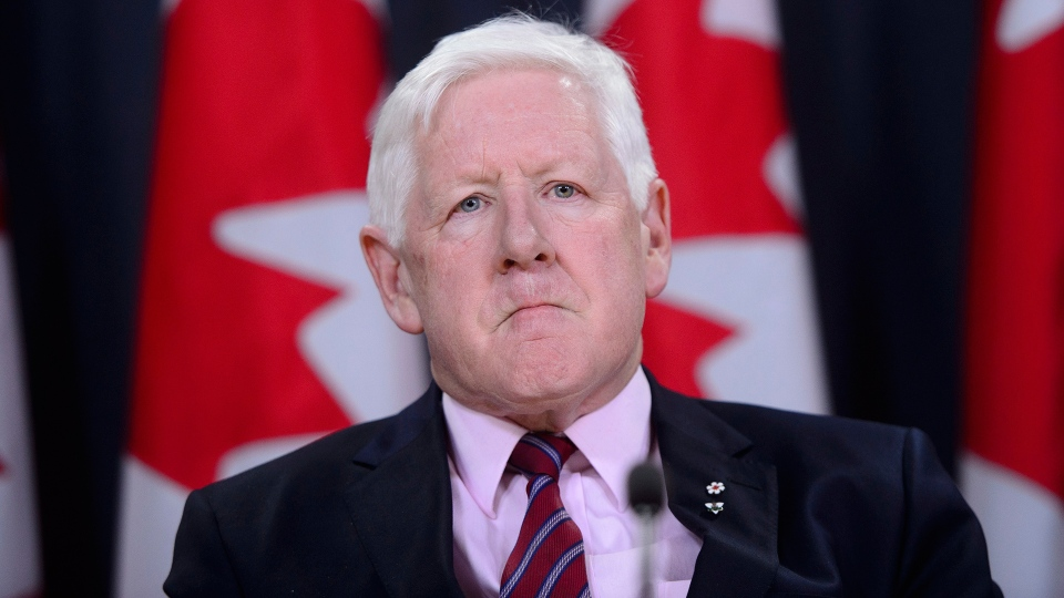 Canadian special envoy Bob Rae releases a report on the humanitarian and security crisis in Myanmar at a press conference in Ottawa on Tuesday, April 3, 2018. (Sean Kilpatrick / THE CANADIAN PRESS)