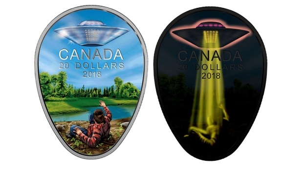 The new $20 coin commemorates the 1967 Falcon Lake incident. (Source: Royal Canadian Mint)
