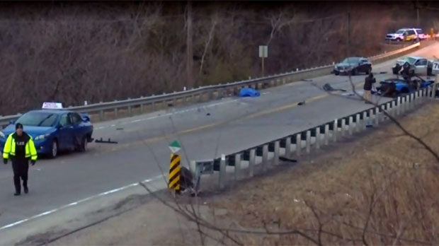 The scene of a fatal crash in Richmond Hill is seen.