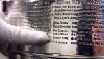 """The National Hockey League's Mike Bolt, who is a keeper of the Stanley Cup when it travels, points out Gordon """"Gordie"""" Howe's name on the team engraving of the 1954-1955 Detroit Red Wings in Boston, Monday, April 2, 2018. (AP Photo/Charles Krupa)"""