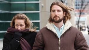 David and Collet Stephan leave for a break during their appeals trial in Calgary on March 9, 2017. THE CANADIAN PRESS/Todd Korol
