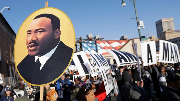 People gather for events commemorating the 50th anniversary of the assassination of the Rev. Martin Luther King Jr. on Wednesday, April 4, 2018, in Memphis, Tenn. (AP / Mark Humphrey)