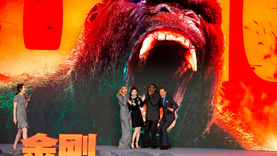 "In this March 16, 2017 file photo, the cast of movie ""Kong:Skull Island"" from left, Brie Larson, Jing Tian, Samuel L. Jackson and Tom Hiddleston pose for a photo during a press conference in Beijing, China. (AP Photo/Ng Han Guan, File)"