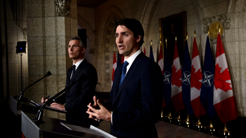 Prime Minister Justin Trudeau and NATO Secretary General Jens Stoltenberg take part in a joint press conference on Parliament Hill in Ottawa on Wednesday, April 4, 2018. THE CANADIAN PRESS/Sean KilpatrickSpecial Instructions
