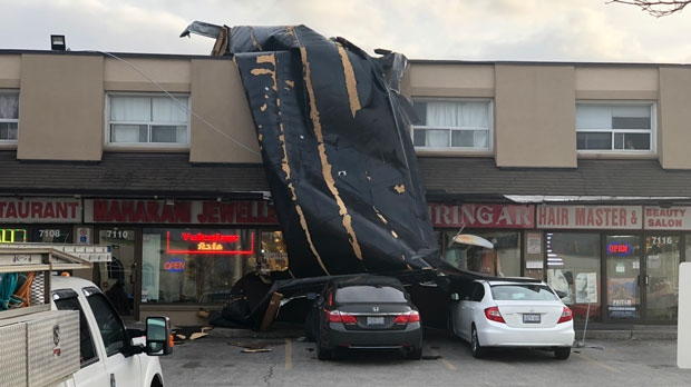Gusting winds have blown a roof completely off a plaza in Mississauga. (Tom Podolec)