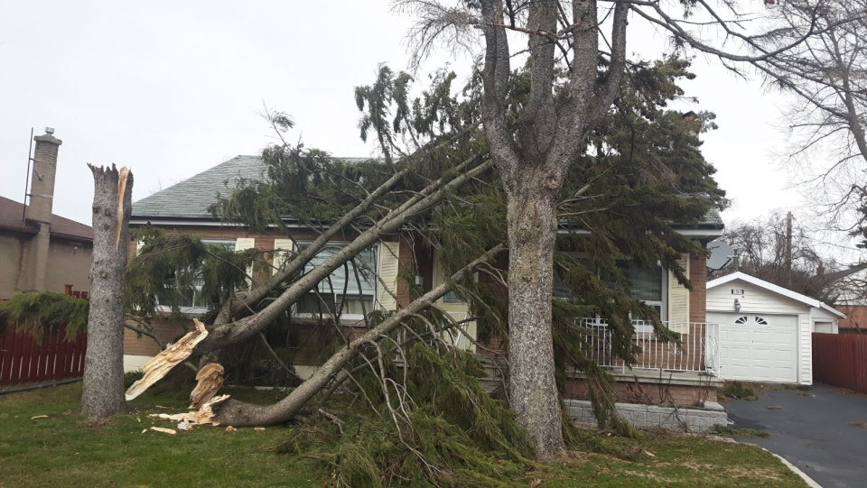 Reader Lina Q submitted this photo of her home after it was damaged in a wind storm that hit Ontario on Apr. 4, 2018.