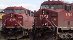 Canadian Pacific Railway locomotives sit in a rail yard in Montreal on May 23, 2012. (THE CANADIAN PRESS/Ryan Remiorz)