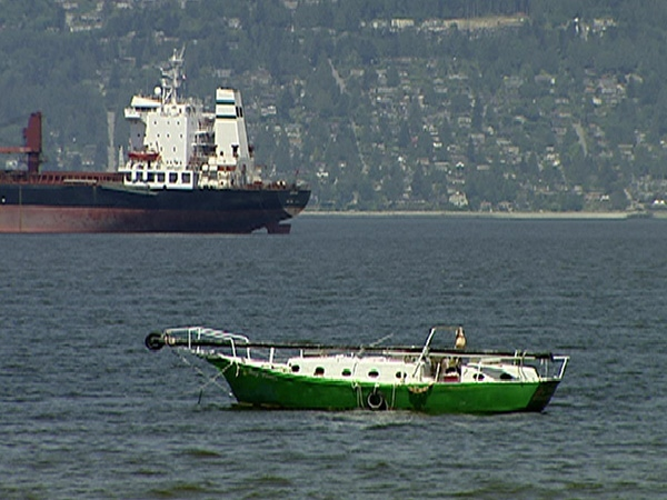 Sitting in the vicinity of Vancouver's Jericho Beach is the protest boat with the Nazi symbols. May 29th, 2009.